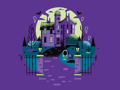 Haunted Mansion blue black illustrator disney illustration