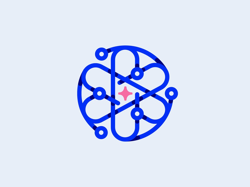 Atomic Growth black blue branding design logo illustration