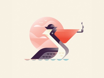Pelican Sailor pelicans ocean sea pelican branding orange illustrator blue logo illustration