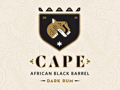 Cape Dark Rum rumble brand logo africa star sun shield cheetah rum