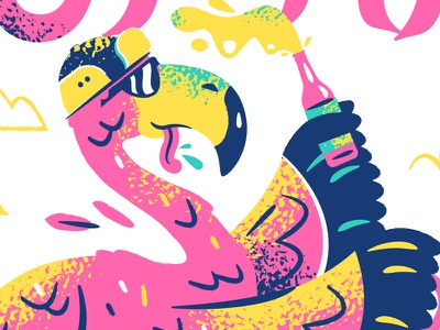 Party Time flamingos party bird beer flamingo illustrator illustration