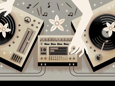 Vanilla Vibes turntable dj label illustration art illustration