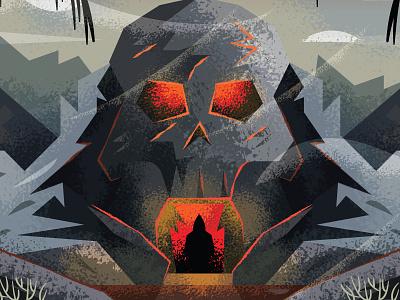 Skull Cave environment landscape death adventure skull illustration