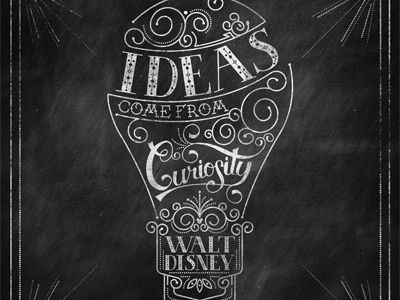 Ideas Come From Curiosity disney quote illustration type mickey mouse