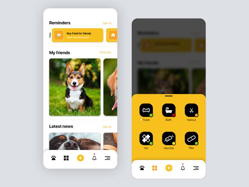 My Best Friend App Concept minimalist minimalism yellow navbar menu concept design home conceptual dog concept app figma ux ui design