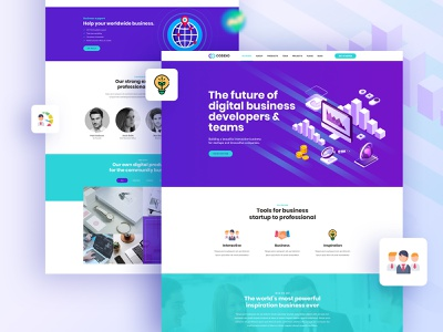Codexo Landing Page unique ui ux design trader startup portfolio one page psd template multipurpose modern landing consulting company colorful clean template business advisor