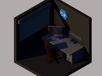 Programmer Workspace Isometric 3D Scene