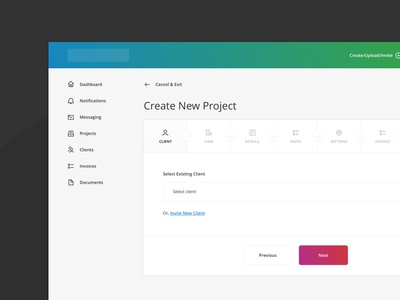 Create New Project Flow - Step 1 (Client)