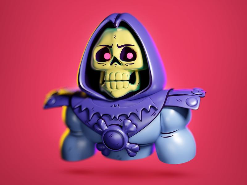 Skeletor character digital art 3d cartoon 3d illustration john nobrand 3d cartoon