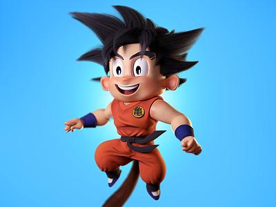 Kid Goku dragon ball goku character art digital art 3d cartoon 3d illustration john nobrand 3d cartoon