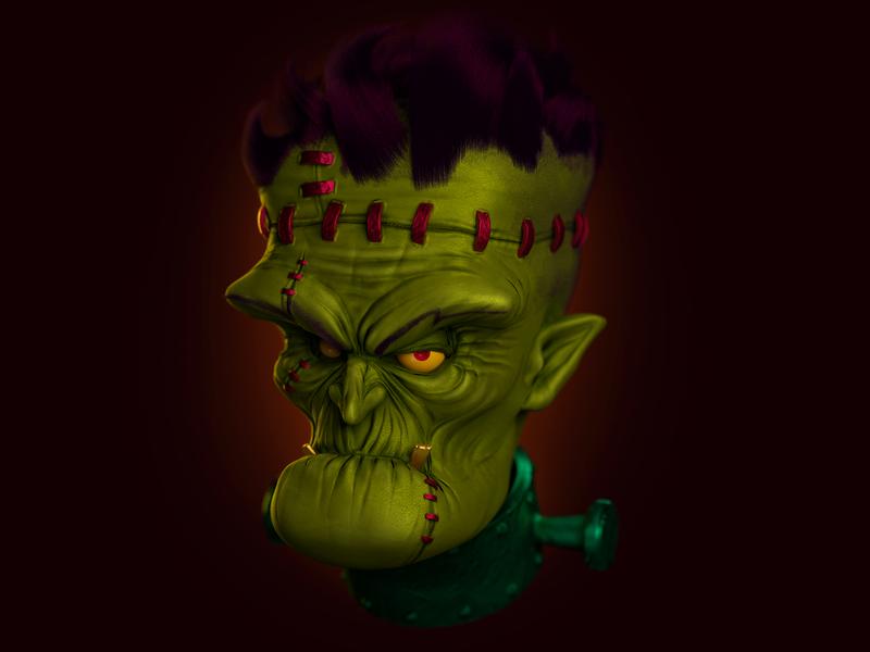 Funkenstein character digital art 3d cartoon 3d illustration john nobrand 3d cartoon
