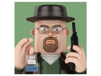 Heisenberg breaking bad walter white heisenberg john nobrand cartoon 3d illustration 3d cartoon 3d