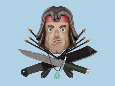 Rambo  sly silvester john nobrand 3d 3d cartoon 3d illustration john rambo john stallone rambo