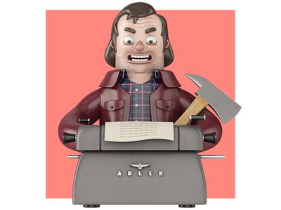 Here's Johnny! the shining jack jack torrance john nobrand cartoon 3d illustration 3d cartoon 3d