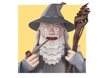 Gandalf  lotr lord of the rings gandalf john nobrand cartoon 3d illustration 3d cartoon 3d