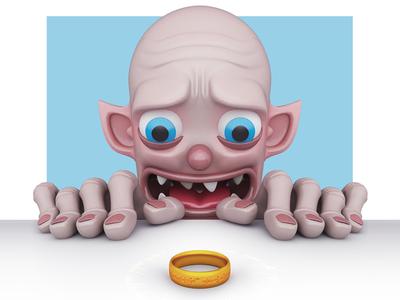Gollum lotr lord of the rings smeagol gollum john nobrand cartoon 3d illustration 3d cartoon 3d