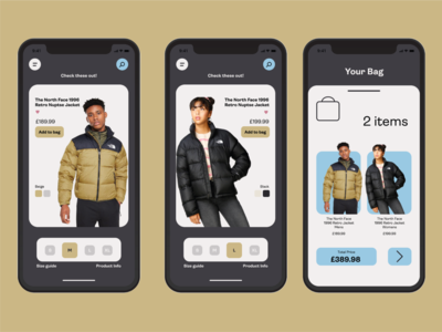 Simple clothing app pages