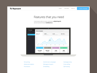 Features page for represent.com app website features illustrations landing page features page