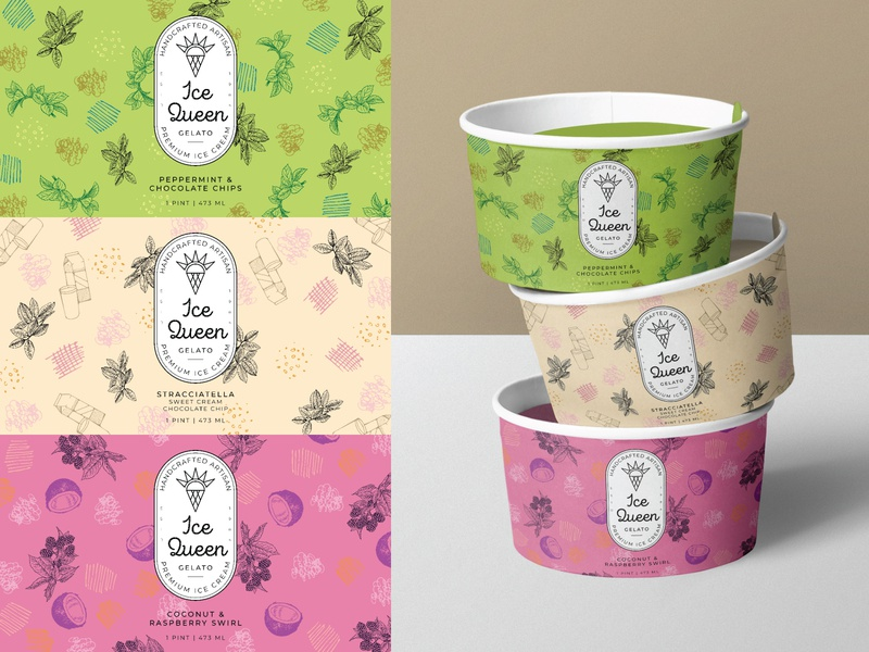 Weekly warm-up #37: Ice cream packaging weeklywarmup food packaging ice cream brand food brand food ice cream concept packaging icecream branding concept hand drawn vector design logo branding and identity branding illustration design challenge dribbbleweeklywarmup