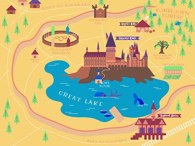 Weekly warm-up #39: Hogwarts Map lake squid castle magic flat modern pottermore potterhead hogwarts minimal vector harry potter harrypotter weeklywarmup dribbbleweeklywarmup map illustration adobe illustrator