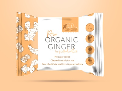 Logo and Packaging Concept designs for a natural ginger brand minimal organic food ginger orange label packaging packaging concept logo concept natural logo organic natural brand icon typography vector branding logo adobe illustrator cc illustration design