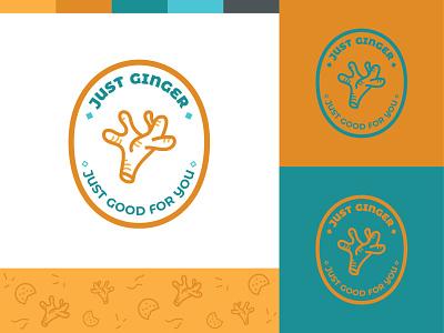 Logo for a natural ginger brand stamp logo icon minimal organic food natural logo natural brand turquoise orange vector branding illustration design adobe illustrator cc logo design organic ginger pattern doodle logo