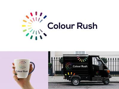 Colour Rush - Logo Design rainbow creative logo geometric logo flower logo floral logo colorful design c logo colorful flat minimal letter c c icon vector branding adobe illustrator cc logo logo design graphic design design