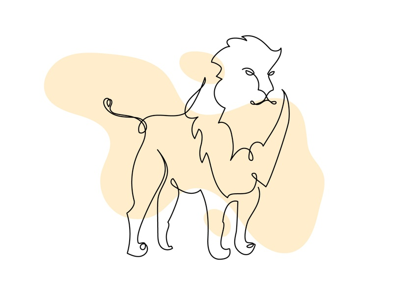 Weekly Warm-up #4: Single line lion icon flat illustration vector minimal lion logo lion black and white animal icon icon design mono line single line adobe illustrator cc icon dribbble warmup design challenge dribbbleweeklywarmup