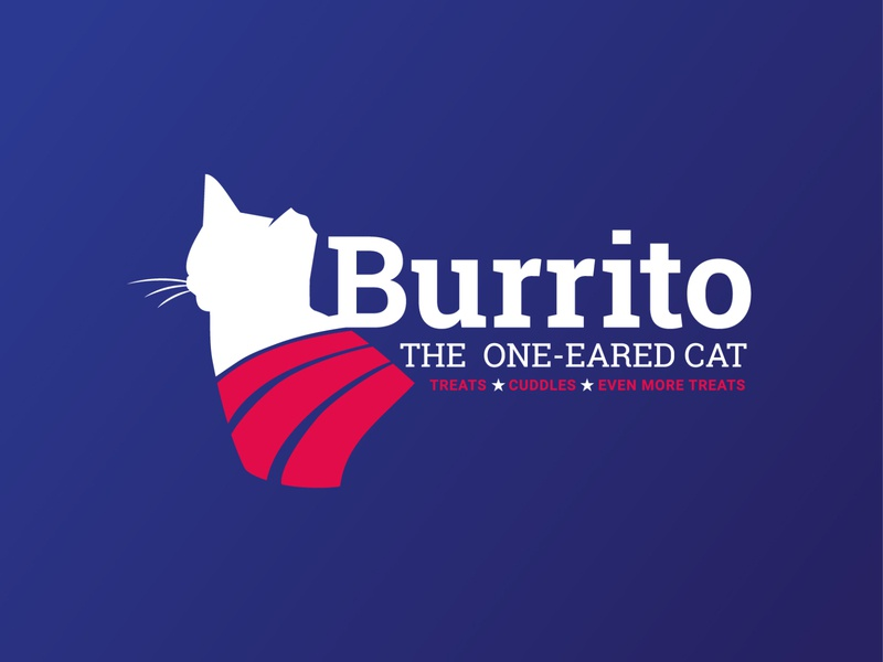 Weekly warm-up #7: Burrito the cat Campaign logo mark graphic design concept clean minimal flat icon vector design weeklywarmup weekly warm-up cat logo cat red white and blue silhouette logo concept campaign logo campaign logo dribbbleweeklywarmup