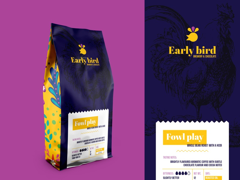 Weekly warm-up #8: Early bird Coffee packaging branding vector design illustration colorful mark concept logo darkblue yellow dribbbleweeklywarmup weeklywarmup weekly warm-up packaging coffee packaging coffee rooster logo rooster