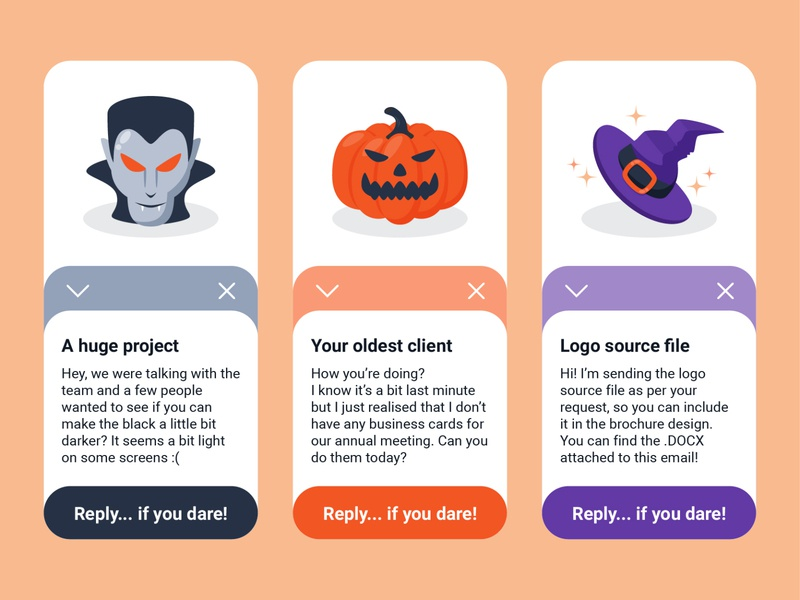Weekly warm-up #9: Spooky clients Design edition ui design ux  ui minimal flat web email app icon halloween client spooky scary uxui vector ui design illustration designchallenge design challenge adobe illustrator cc