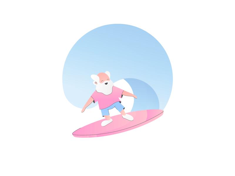 old man surf character surfman oldman grandpa vector illustration wave surfing