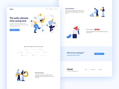 Neue—Full Page landing ui web design website design side project landing page