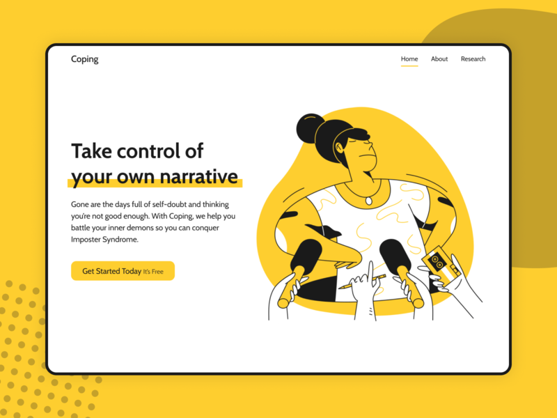 Coping—Landing Page web side project ui mockup illustration website design web design landing page