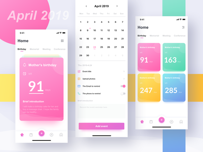 This is an app to help people remember important days design 应用 设计 ux ui