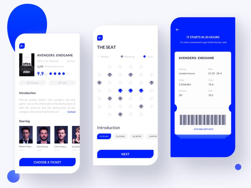Pure blue movie booking app 网页 设计 ui