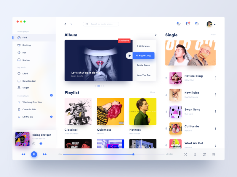 Music for desktop applications mac app 网页 网页设计 设计 ui