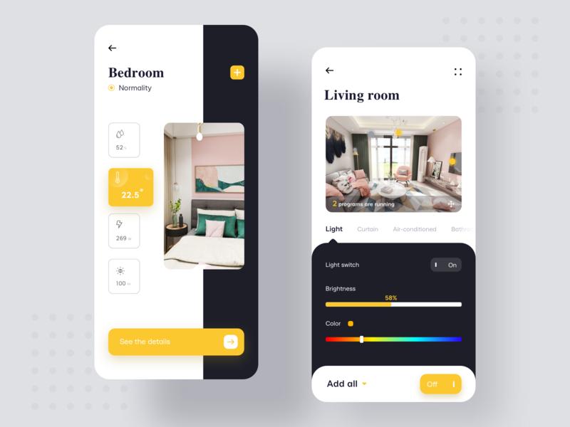 Smart home control app illustration product design web design 设计 ui