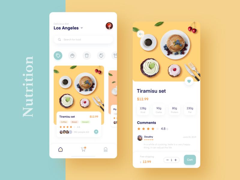 Contrast color food order application mobile illustration design 设计 ui