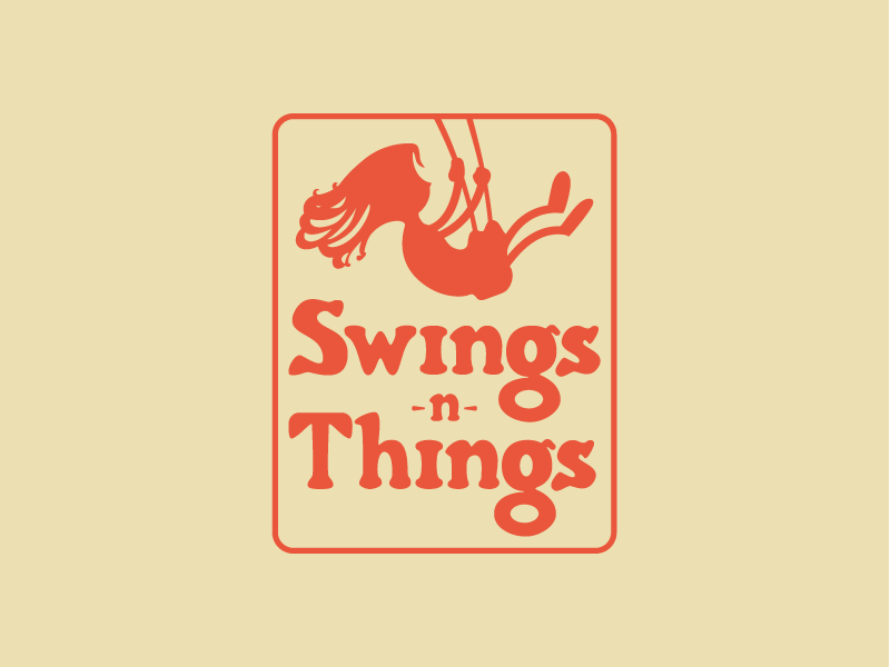 Swings -n- Things Logo child kid lawn furniture swing set hand drawn girl yellow red swingers swings -n- things things swings