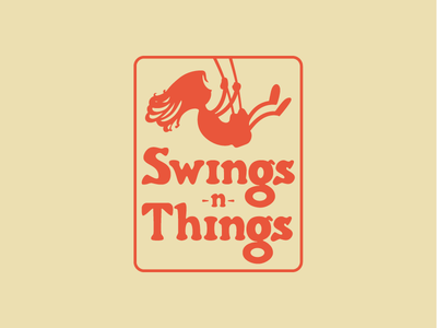 Swings -n- Things Logo child kid lawn furniture swing set hand drawn girl yellow red swingers swings -n- things things swings