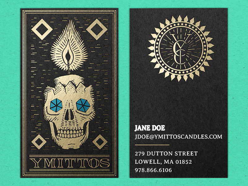 Ymittos Business Cards (…but prettier) skull pirates of the caribbean movies lowell ma foil on black foil candle black paper 100 years