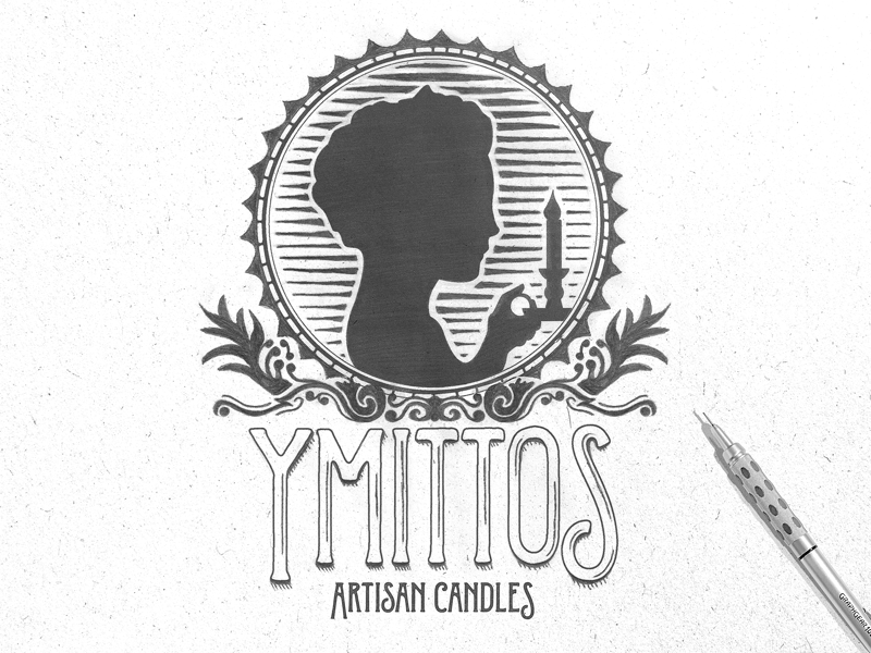 Ymittos Box Stamps ymittos candles 100 years mixed media ink pencil black and white greyscale