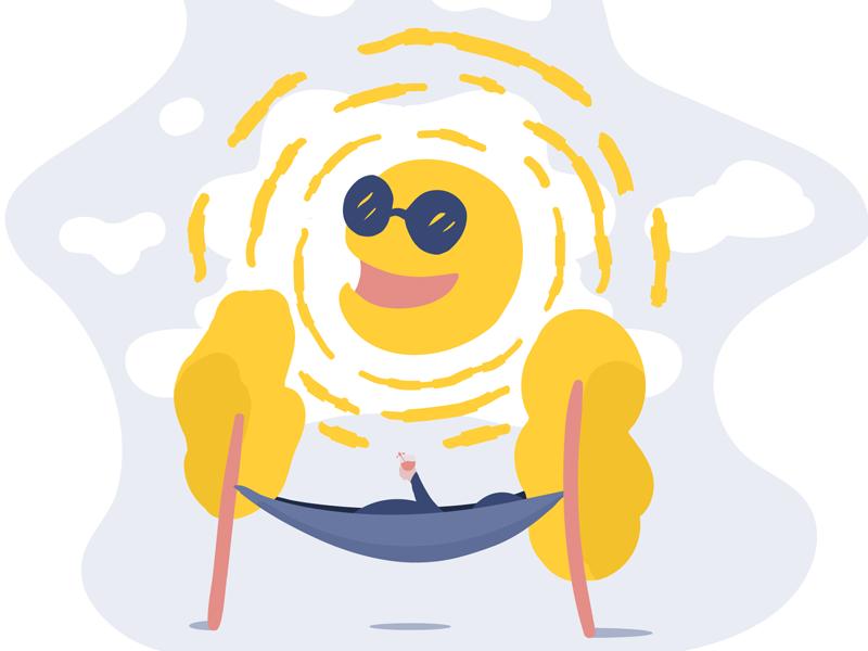 Sunshine illustrator flat trees hammock sunglasses sun blue sky drinks sunshine