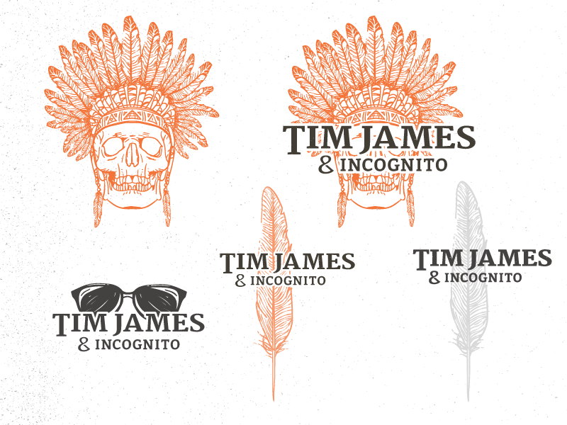 Tim James & Incognito Band Brand headdress indian incognito white black grey orange native america typography branding band