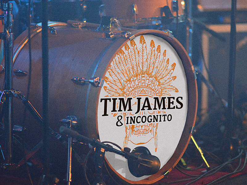 Tim James & Incognito Bass Drum Logo illustrator mockup band branding typography native america orange black white incognito indian headdress