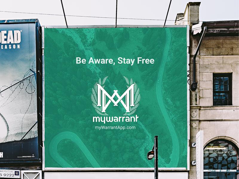 MyWarrant – Sidewalk Ad branding identity book app lettering logo logotype sans typography wordmark billboard advertisement