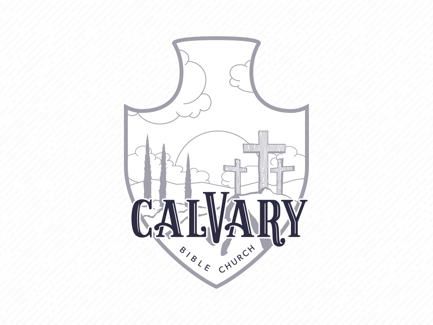 Calvary Bible Church – Badge white black brand typography branding monochrome greyscale illustration design vector badge logo badge logo illustrator church branding church