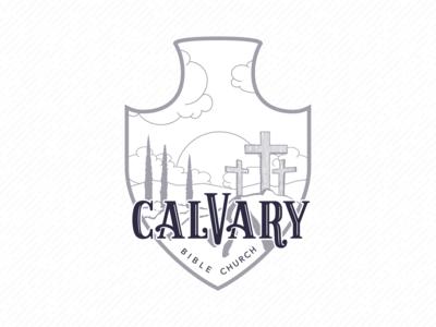 Calvary Bible Church – Badge white black brand typography branding monochrome greyscale illustration design vector badge logo badge logo illustrator church branding church