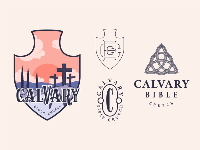 Calvary Bible Church – Brand Exploration church contrast warm colors trinity arrowhead badge vector illustration brand typography illustrator branding logo